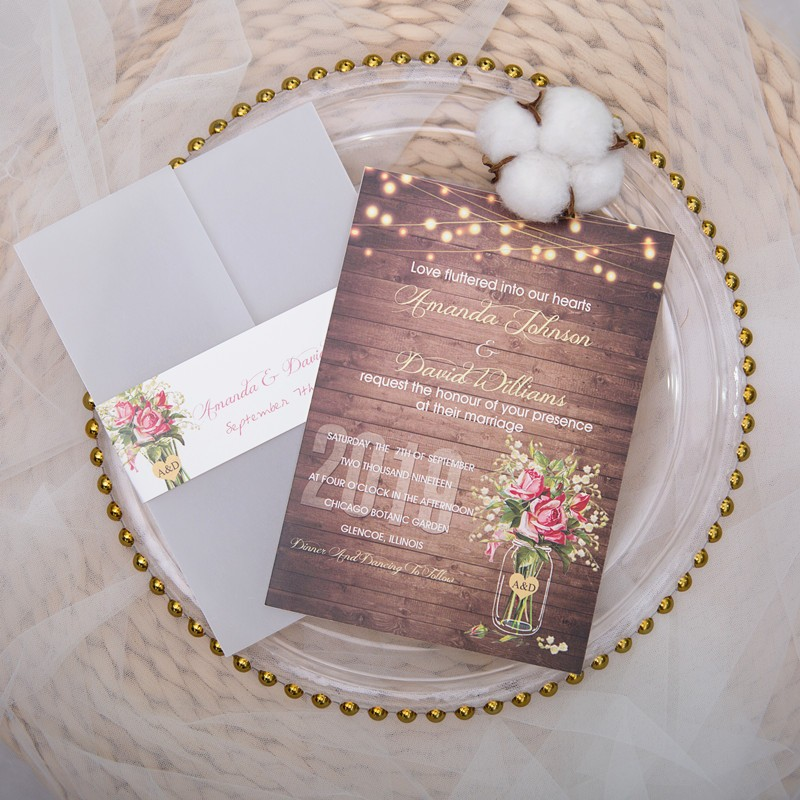 rustic stringlights and babybreath mason jar wood wedding invitation with vellum pocket and belly band SWPI007