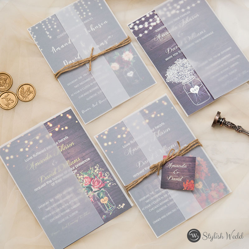 rustic wedding invites with vellum jacket