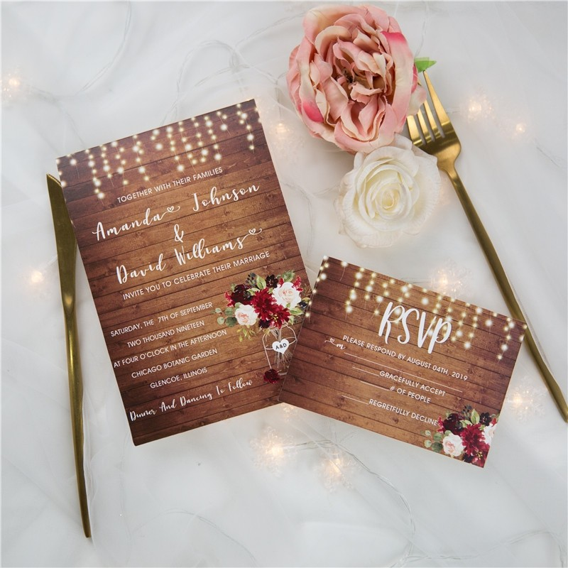 rustic wood stringlight burgundy floral mason jar wedding invites SWPI061