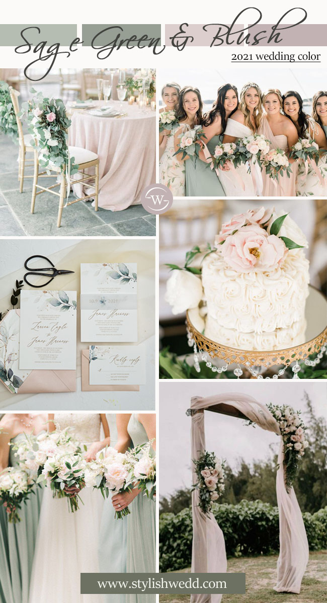 sage green and blush 2021 wedding color inspiration