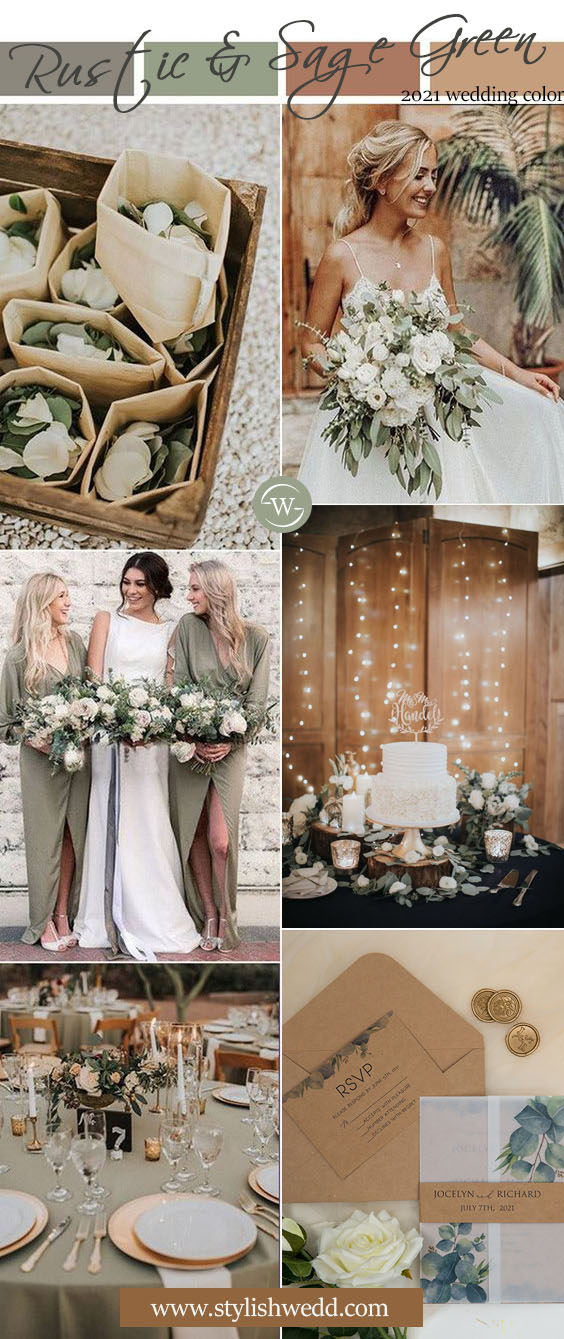 sage green rustic wedding color ideas with matched invitations