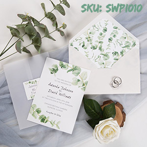 sage greenery rustic eucalyptus wedding invitation with vellum paper belly band and tag SWPI010