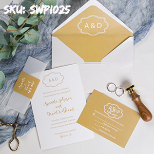simple yellow rustic wedding invitations with vellum paper belly band and tags SWPI025