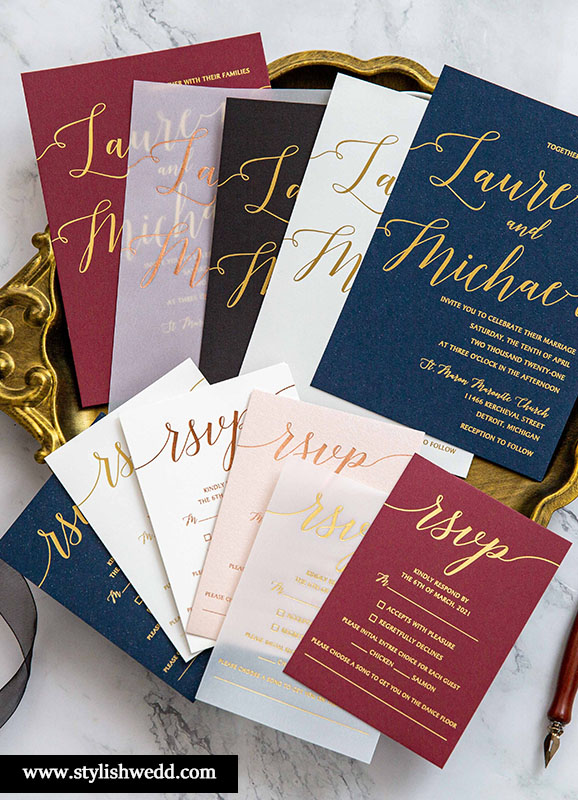 unique foil wedding invitation ideas with DIY cardstock