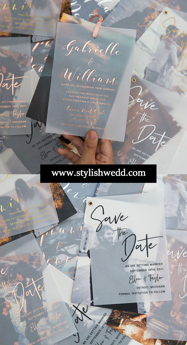 unique modern photo wedding invitations on vellum paper