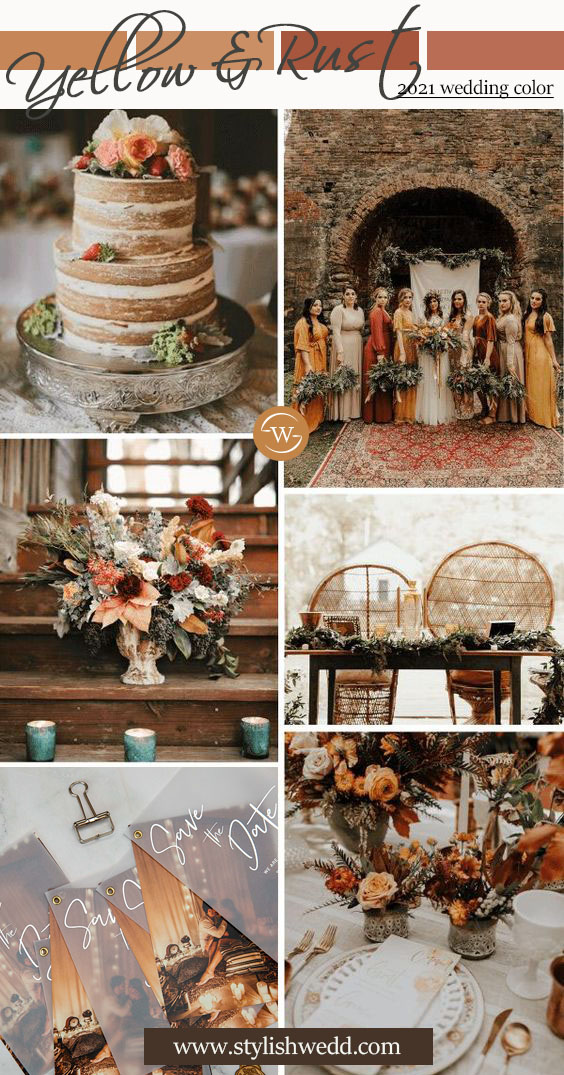 yellow and rust wedding color inspiration for fall boho wedding