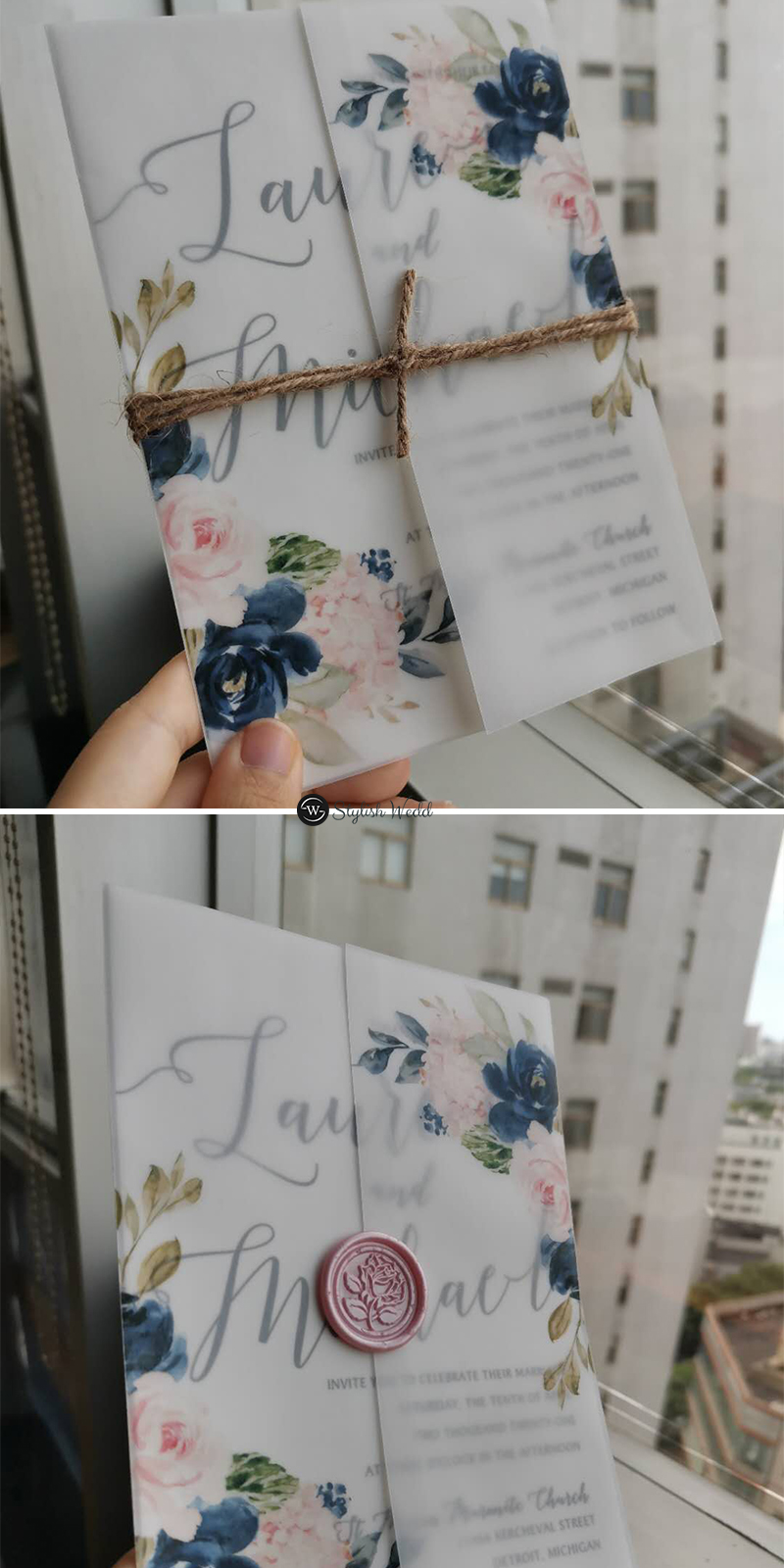 affordable navy blue and blush pink floral wedding invitations with vellum overlay