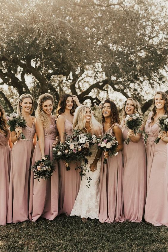 blush and dusty rose bridesmaid dresses ideas for october wedding