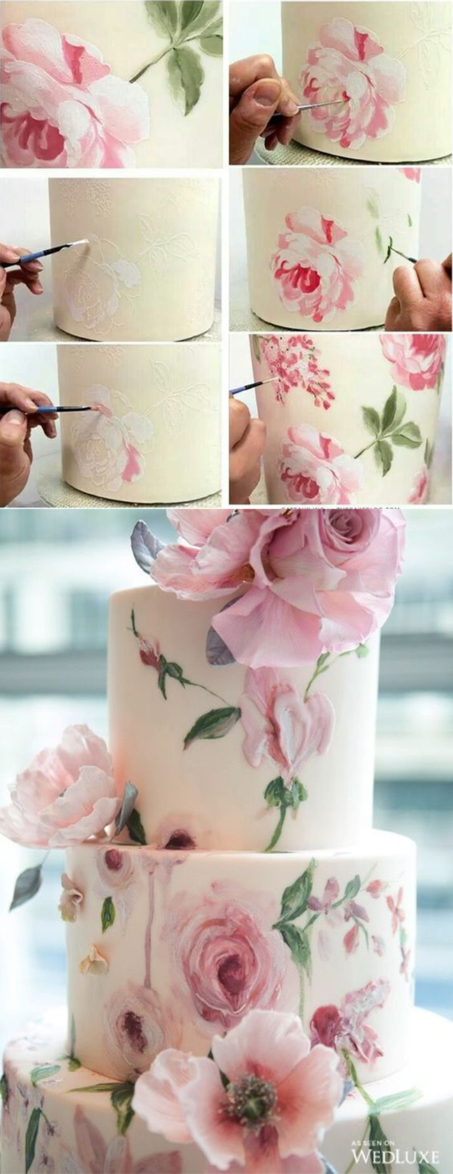 blush floral paint smudge wedding cake