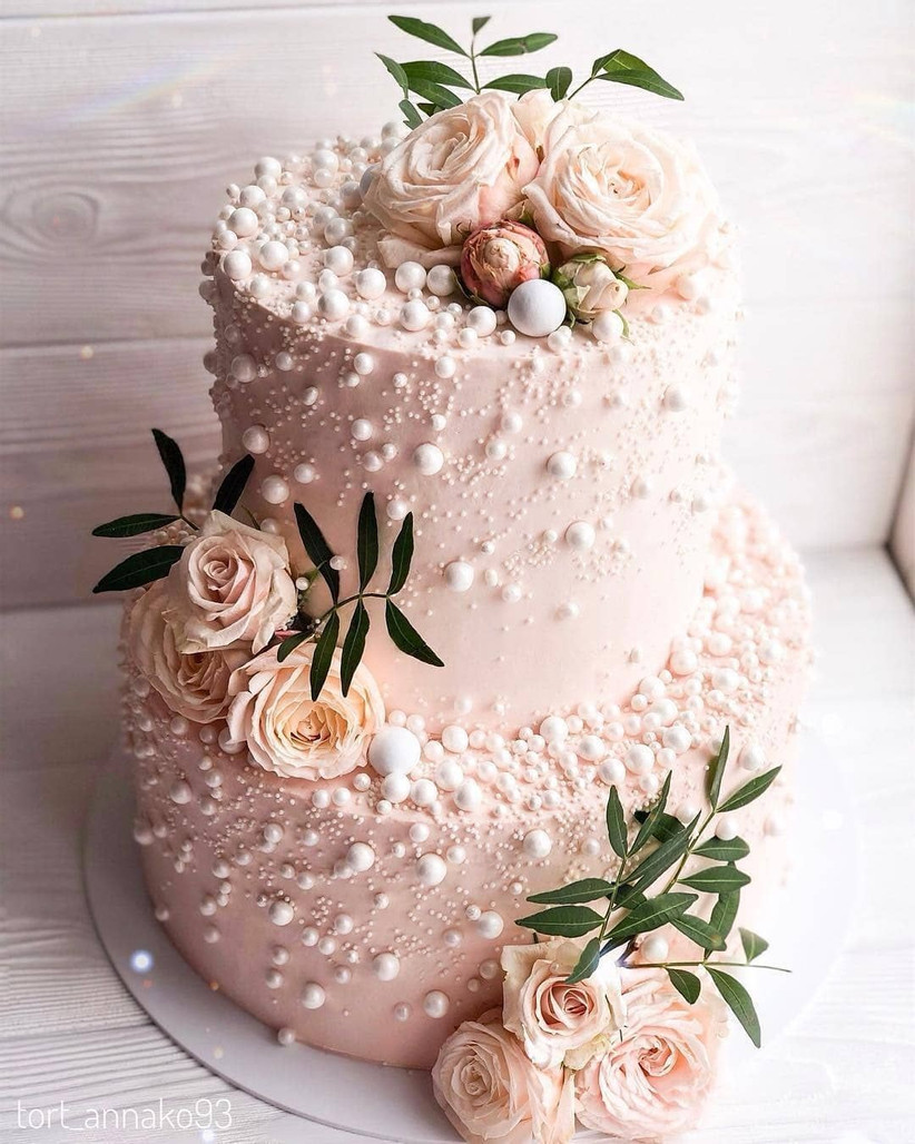 blush pearl wedding cake ideas