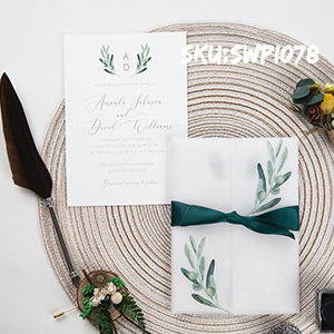 botanical olive leaf wedding invitations with matching vellum paper wrap