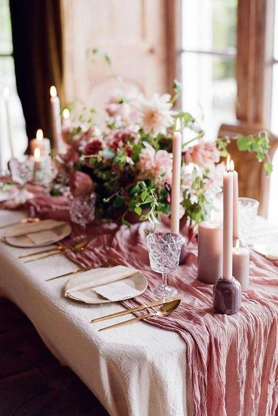 dusty rose wedding tablescape decoration ideas