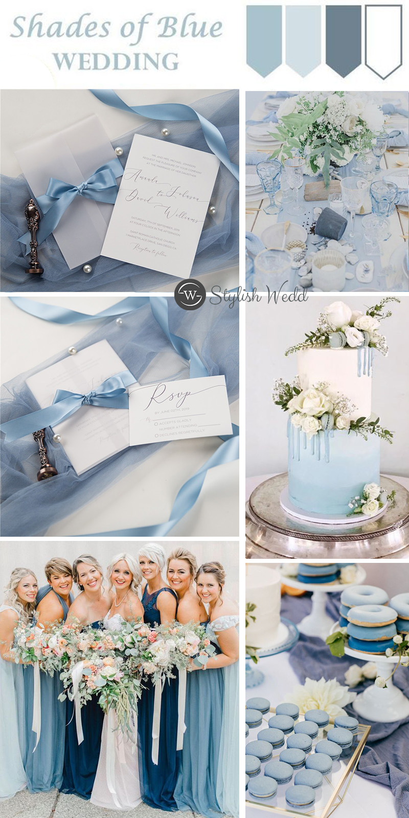 elegant caligraphy wedding invitations with vellum paper pocket and french blue silk ribbon