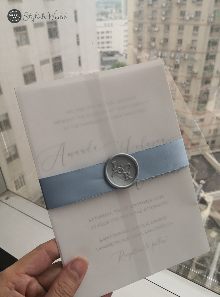 elegant caligraphy wedding invitations with vellum paper pocket french blue silk ribbon and wax seal