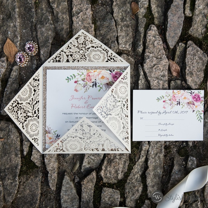 elegant floral laser cut invitation with matching pink floral inner paper and glittery backer
