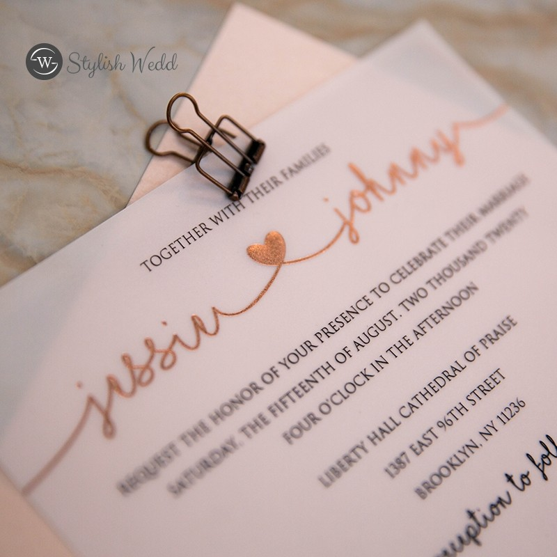 elegant lovely heart rose gold foiling vellum wedding invitations