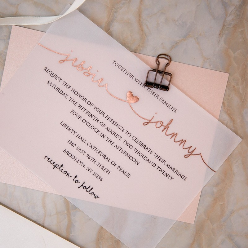 elegant lovely heart rose gold foiling vellum wedding invites