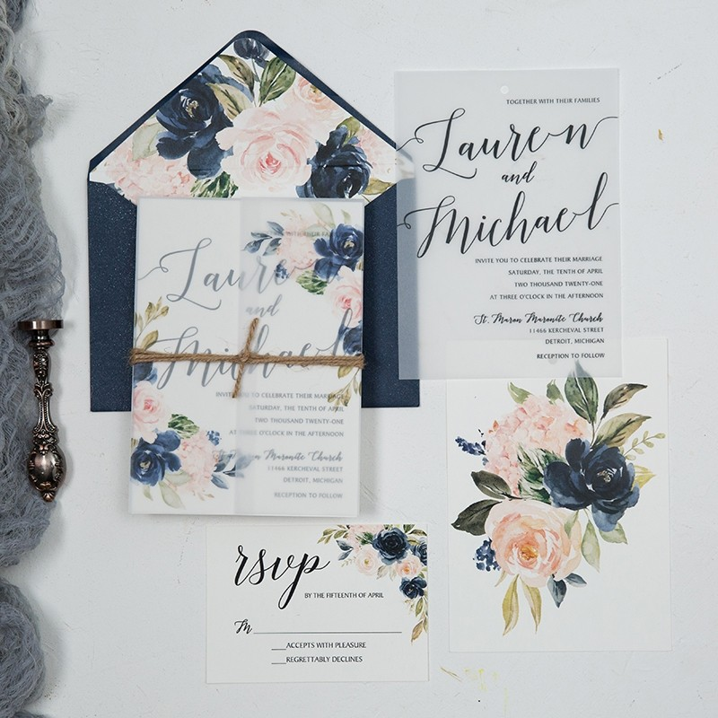 elegant navy blue and blush pink floral vellum jacket wedding invitations