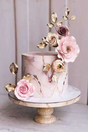 elegant romantic blush wedding cakes with foil flowers