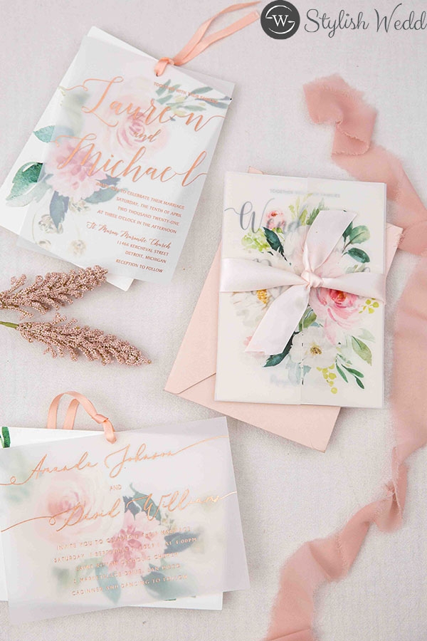elegant vellum wedding invitations with matching blush pink floral
