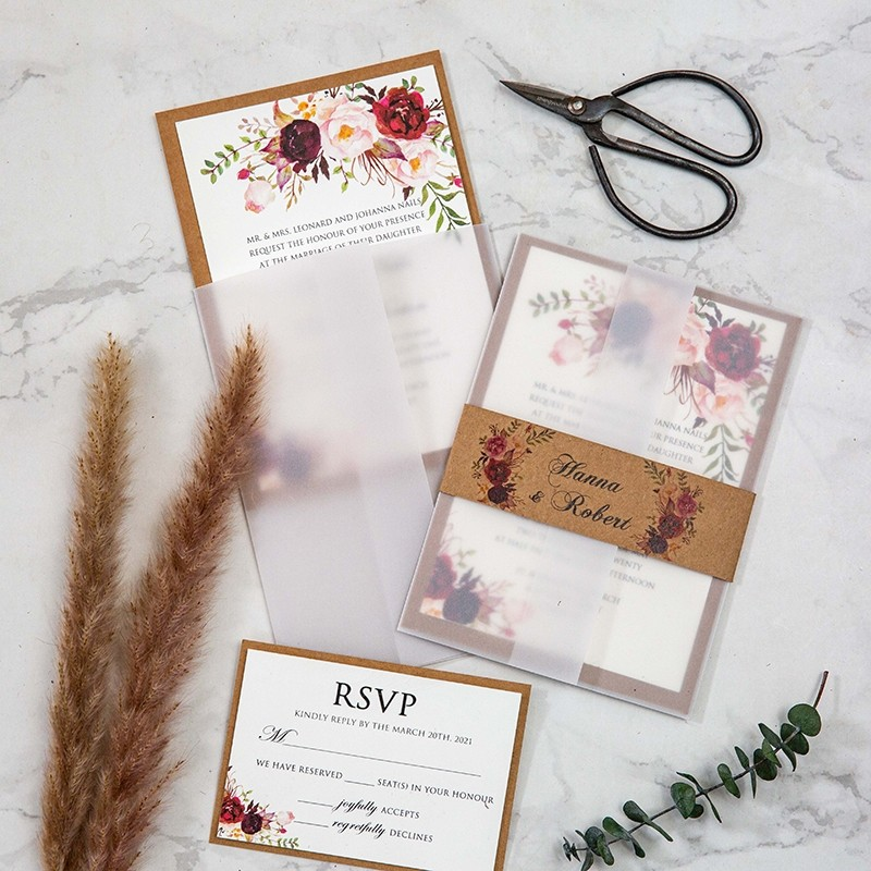 fall rustic floral vellum jacket wedding invitation with craft paper backer