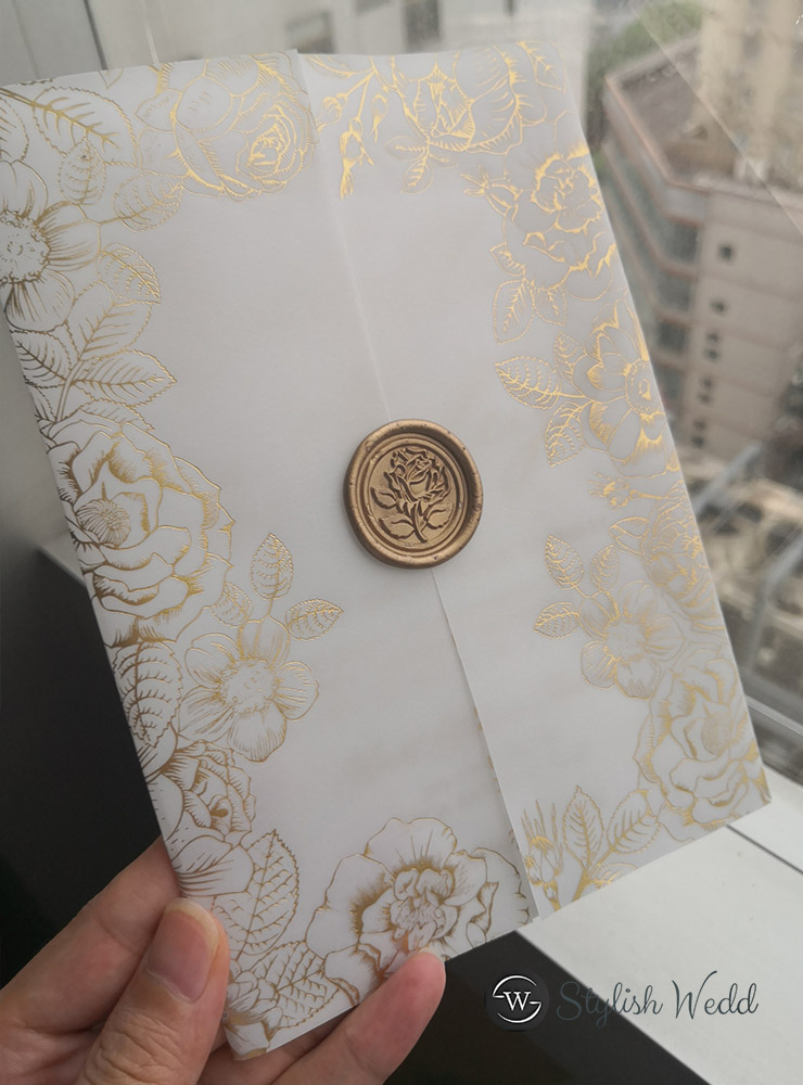 gold floral foil vellum wedding invitations with matching wax seal