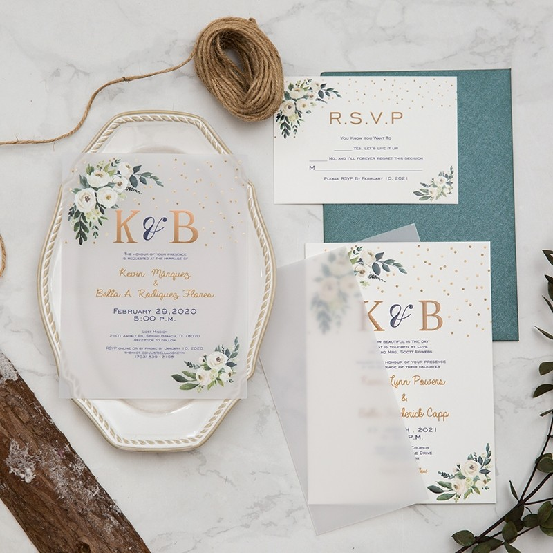 green botanical vellum wedding invitation with UV printing