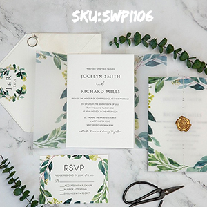 greenery vellum jacket wedding invitation suites with gold wax seal