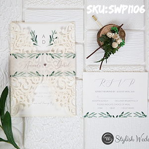 laser cut wrap with greenery pattern wedding invitations