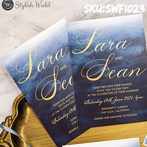 luxury AND modern navy watercolor foil wedding invitation SWFI023