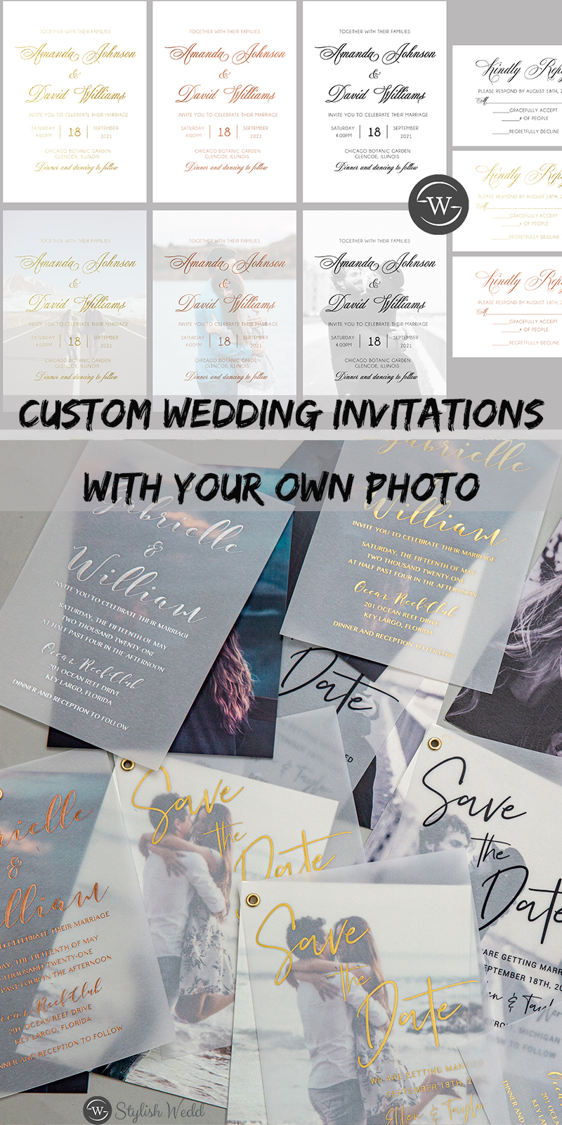 modern and elegant custom wedding invitations with your own photo