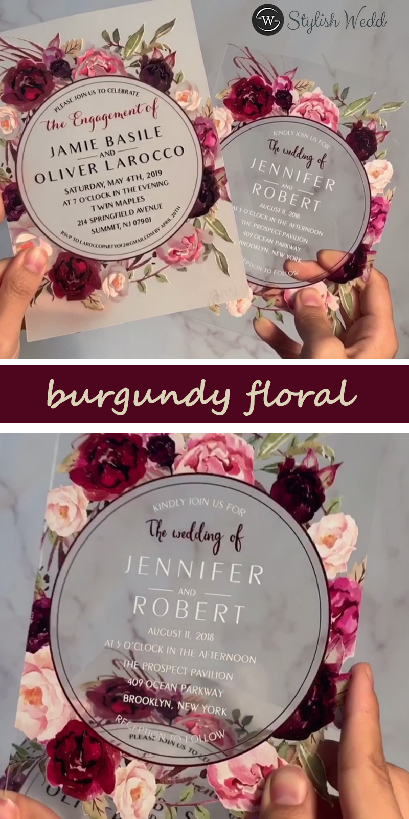 modern custom photo wedding invitation with rose gold gold silver foil vellum paper layered SWVL001