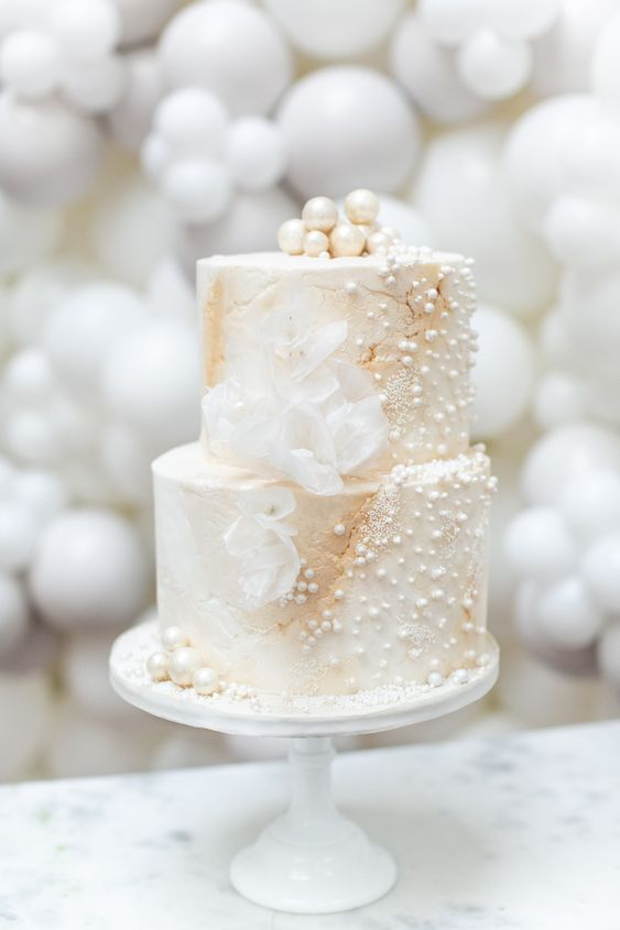 romantic ivory pearl wedding cake