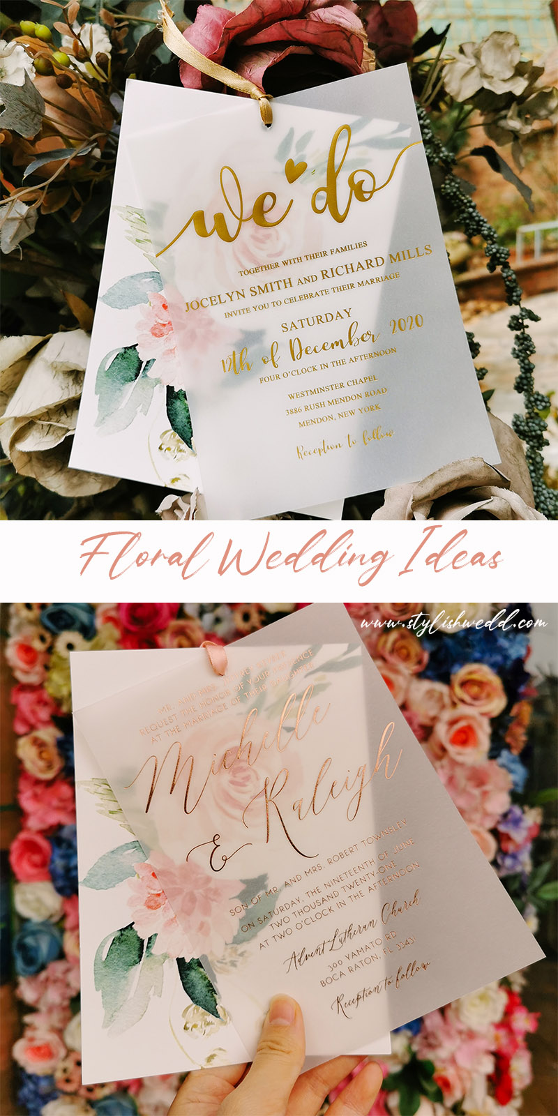 romantic pink floral layered wedding invitations