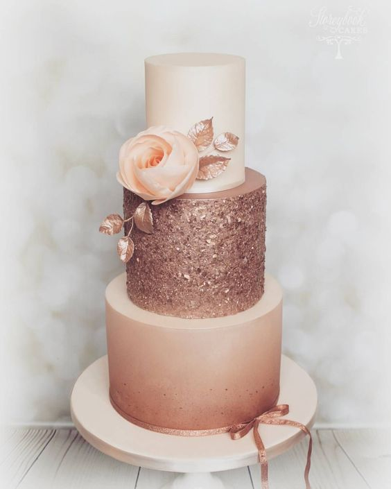 romantic rose gold wedding cake ideas