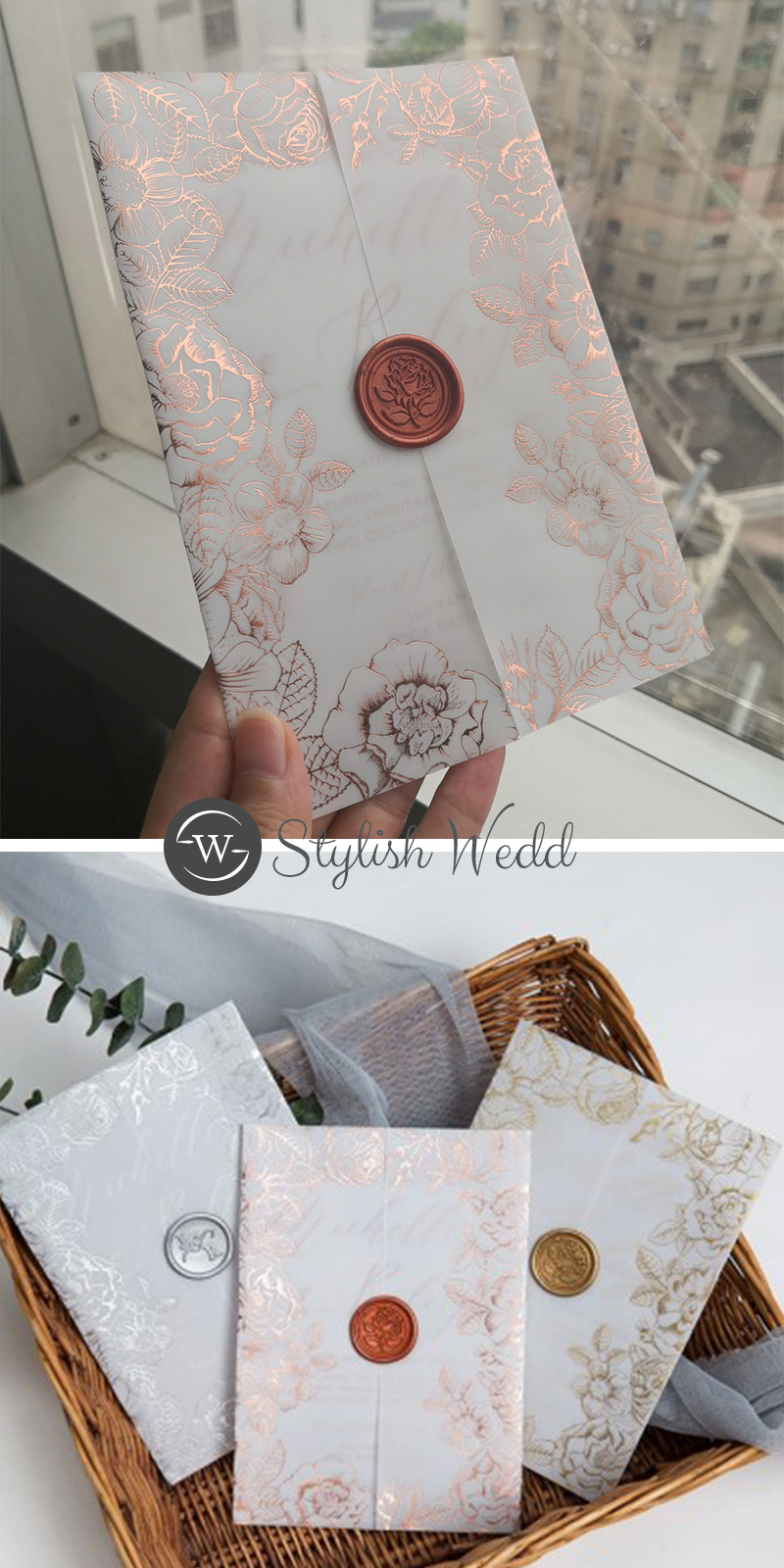 rose gold SLIVER floral foil vellum wedding invitations with matching wax seal