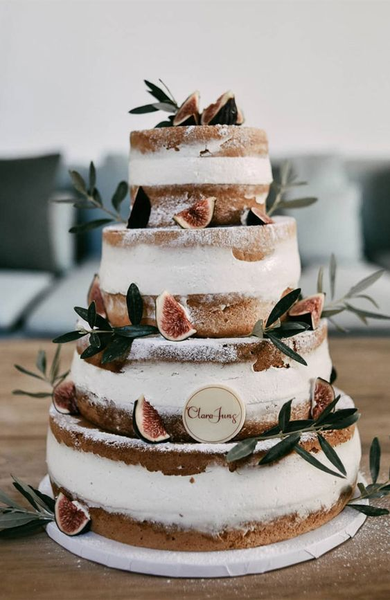 rustic semi-naked wedding cake ideas