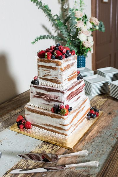 rustic semi-naked wedding cake