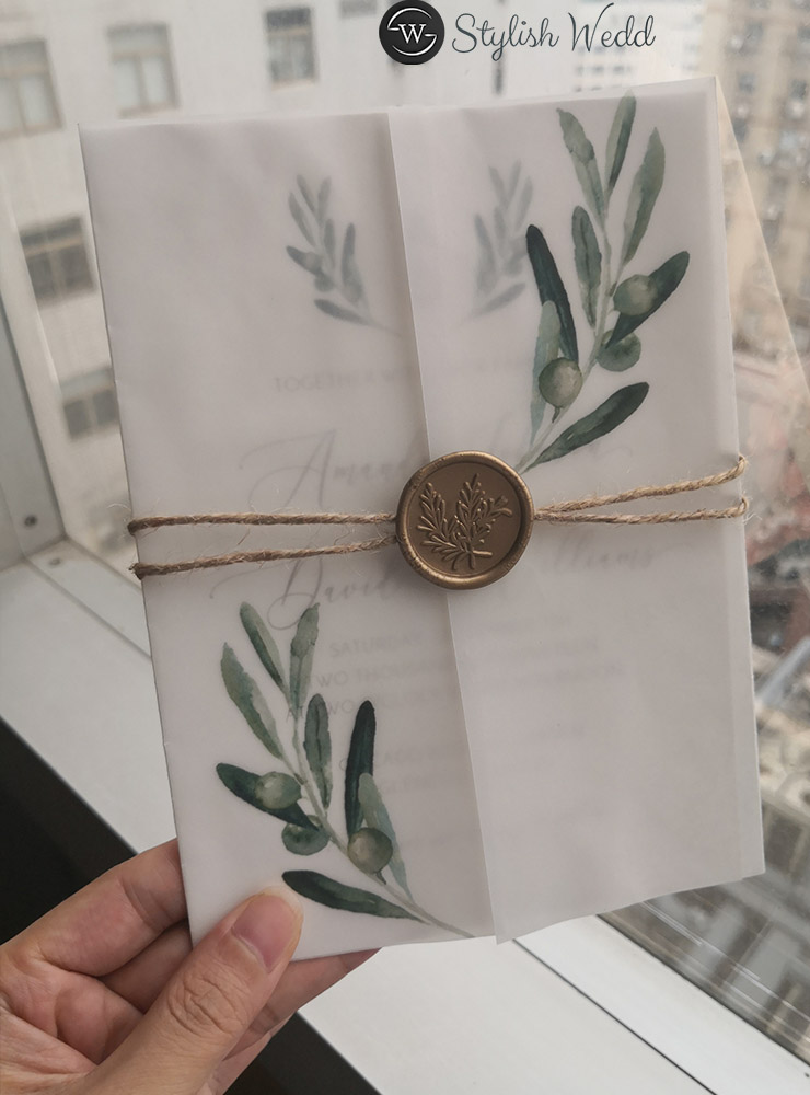 rustic wedding invitation with greenery olive branch vellum jacket and wax seal SWPI099