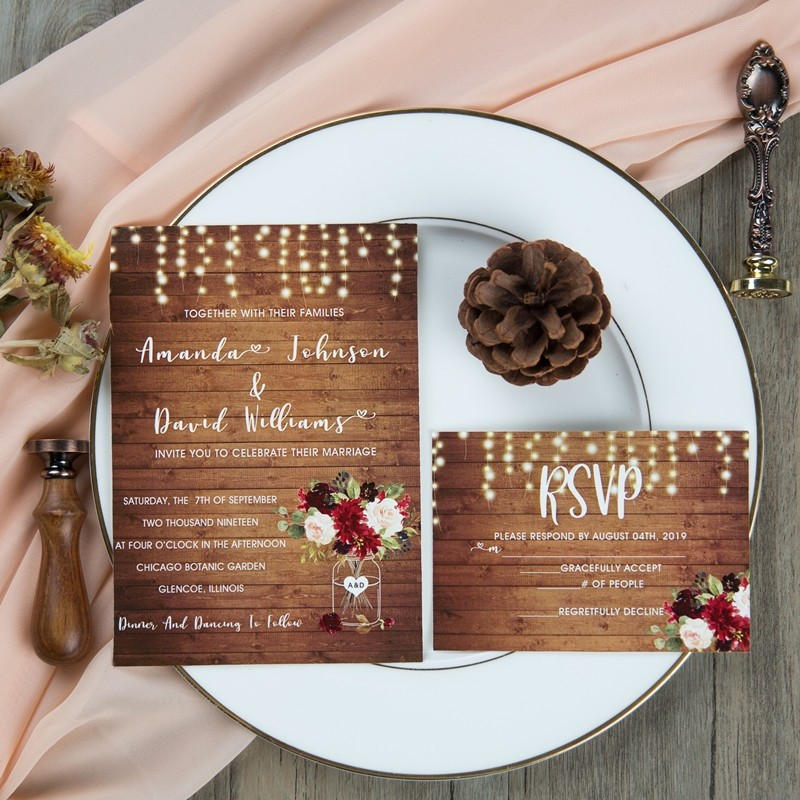 rustic wood stringlight burgundy floral mason jar wedding invites