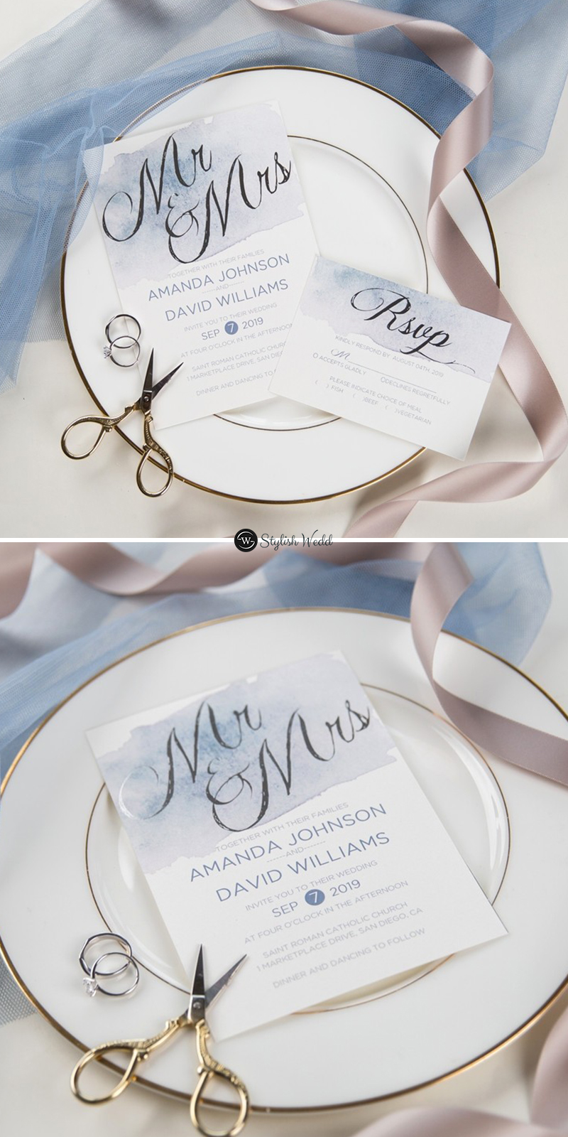 shades of dusty blue watercolor silver foil wedding invitations SWFI001