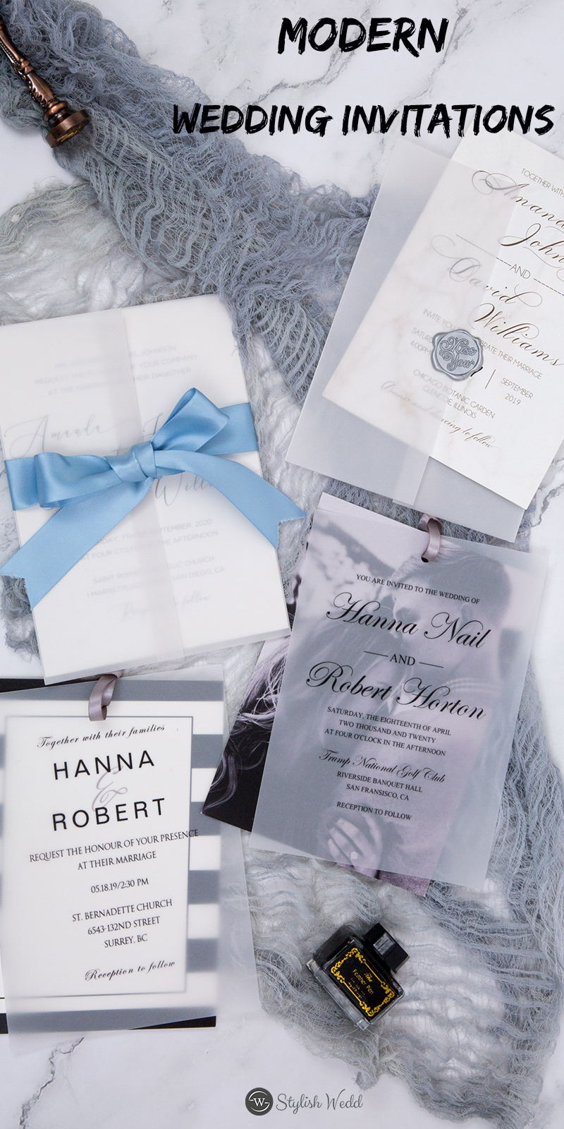 simple modern wedding invitaions