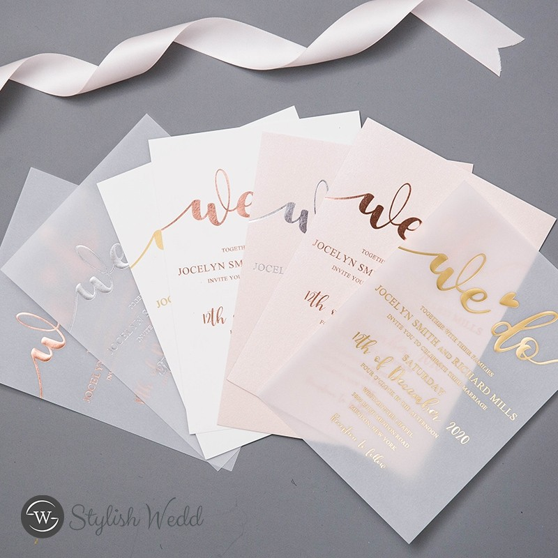unique custom rose goldgoldsilver foil vellum wedding invitations