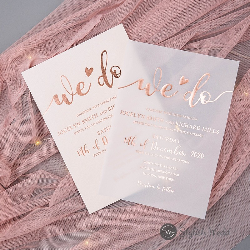 unique custom rose goldgoldsilver foil vellum wedding invites