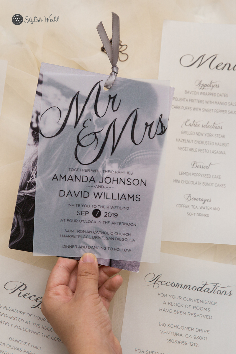 unique modern MR & MRS wedding invitations with photo vellum overlay