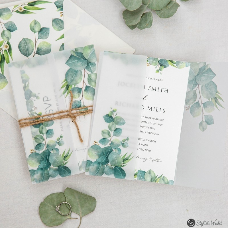 vellum jacket wedding invitation set with printed eucalyptus greenery and rope