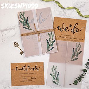 we do rustic wedding invitation with greenery olive branch vellum jacket