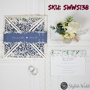 Ivory laser cut fold with blue and floral wedding invitations SWWS138