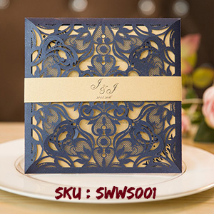 Unique Laser Cut Navy Blue Wedding Invitations With Belly Band SWWS001