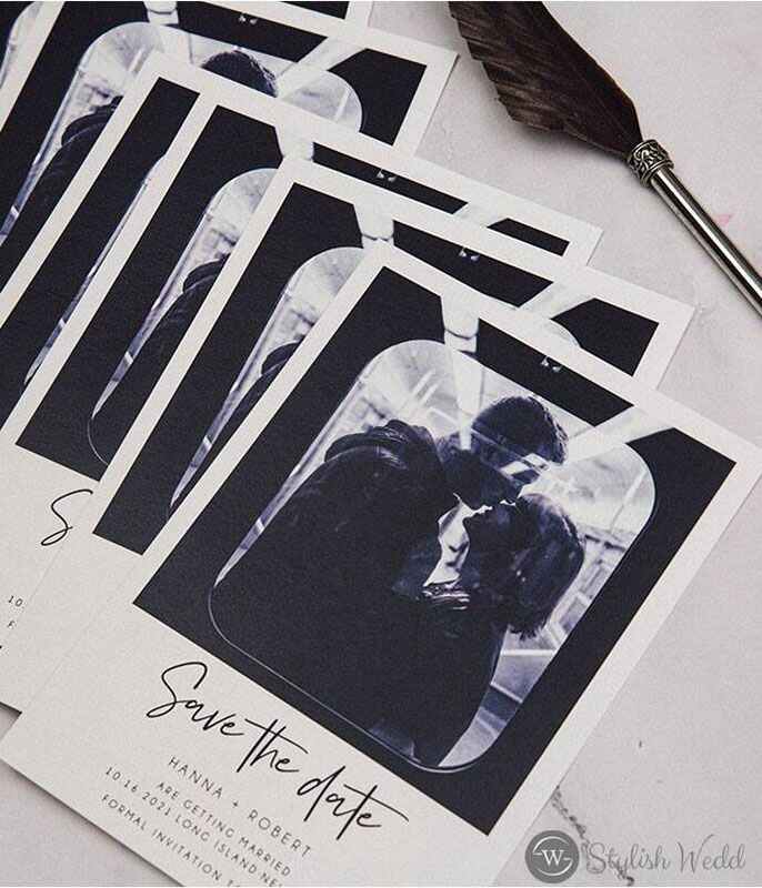 affordable black and white modern save the date photo cards
